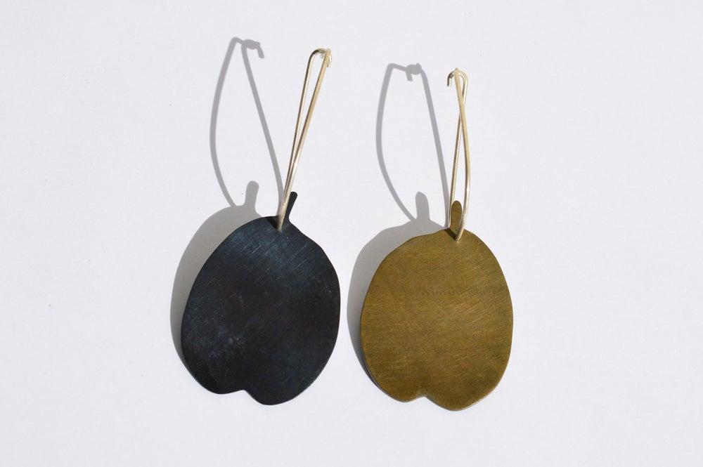 Image of Bicolour leaf earrings