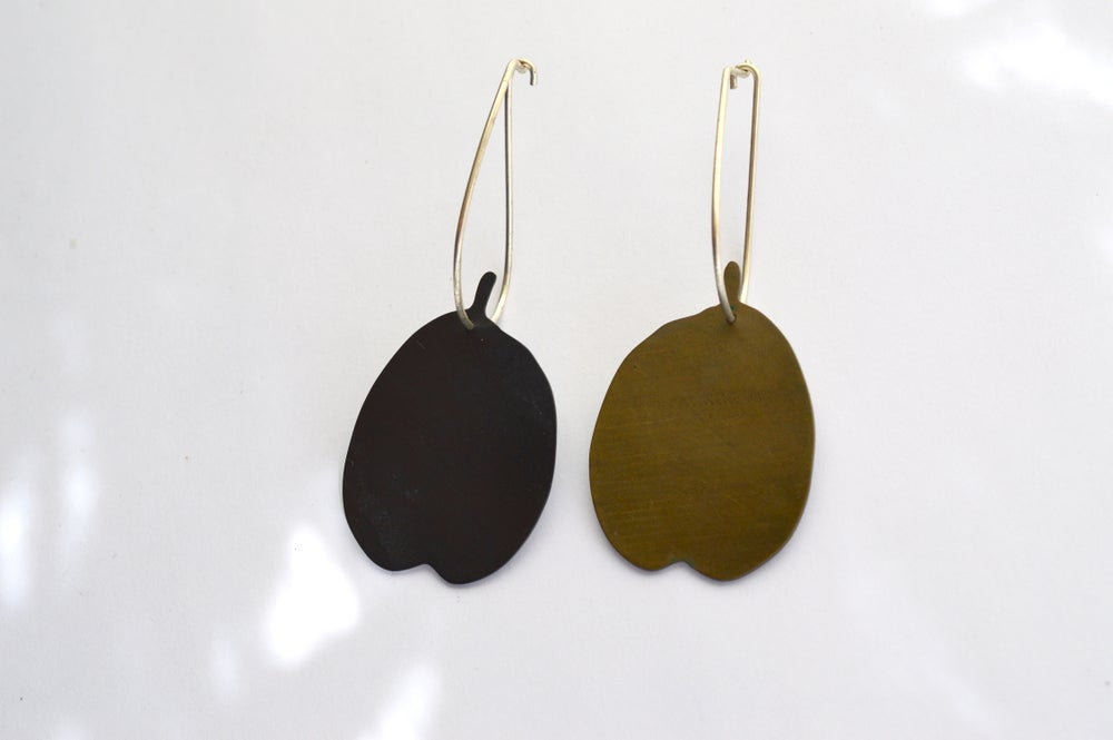 Image of Bicolour leaf earrings
