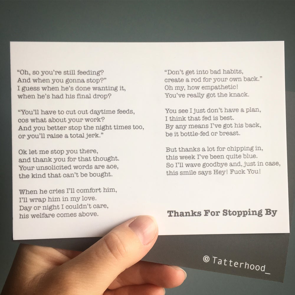 Image of Thanks For Stopping By - Poem Postcard (small A6 size)