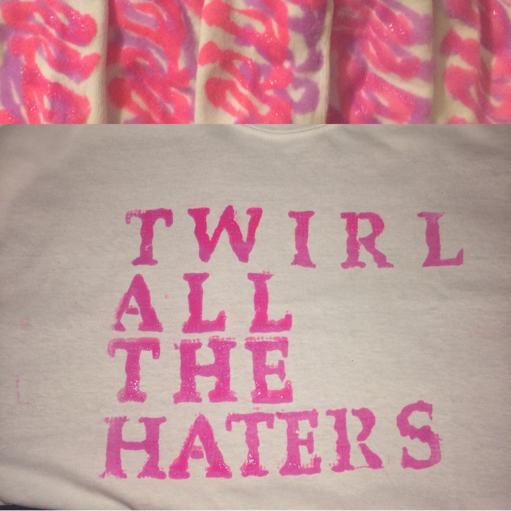 Image of Twirl all the haters shirt and 1 pair of non-slip socks.