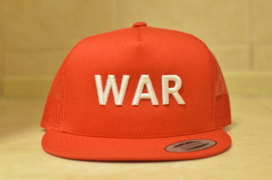 Image of red on white trucker WAR snapbacks