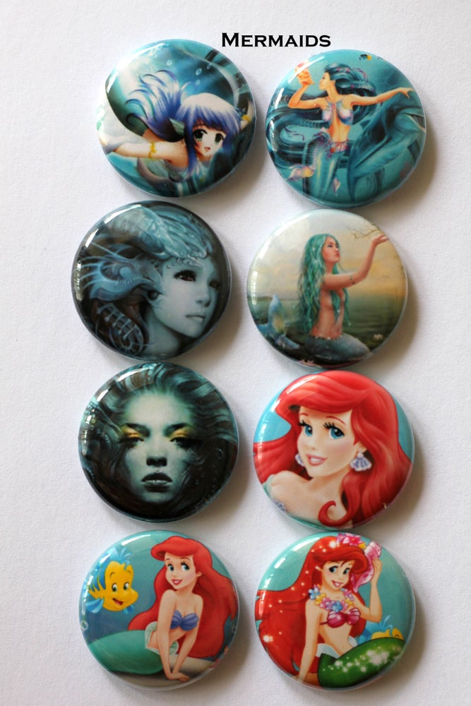 "Image of 1 "" Flair Mermaid Buttons"