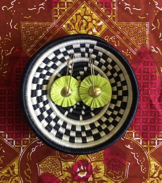 Image of •Mawu• hoop earrings:   chartreuse