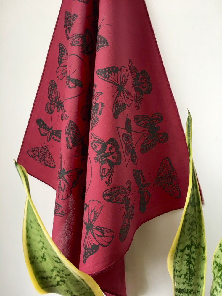 Image of Moth Print Bandana in Burgundy and Black
