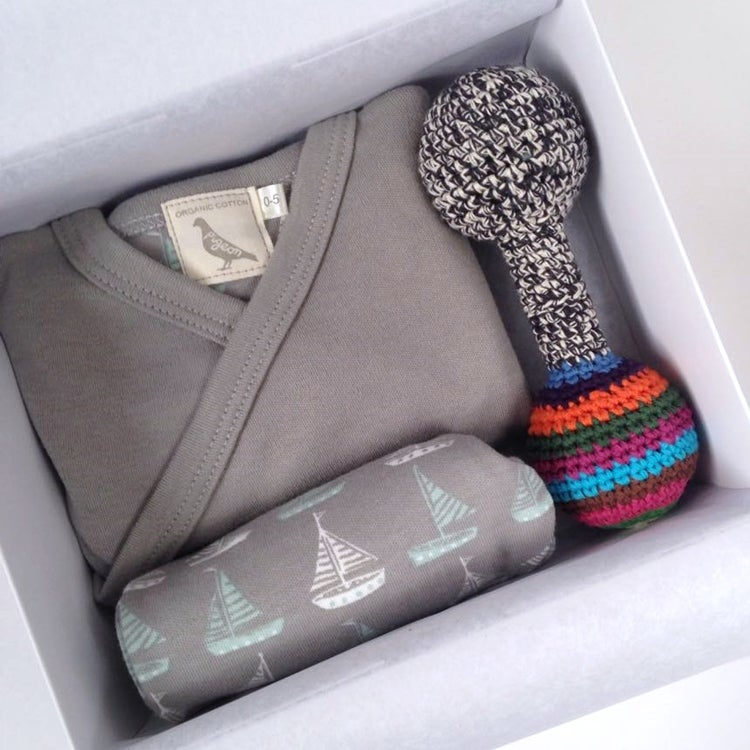 Image of Sailboats Organic Baby Gift Box