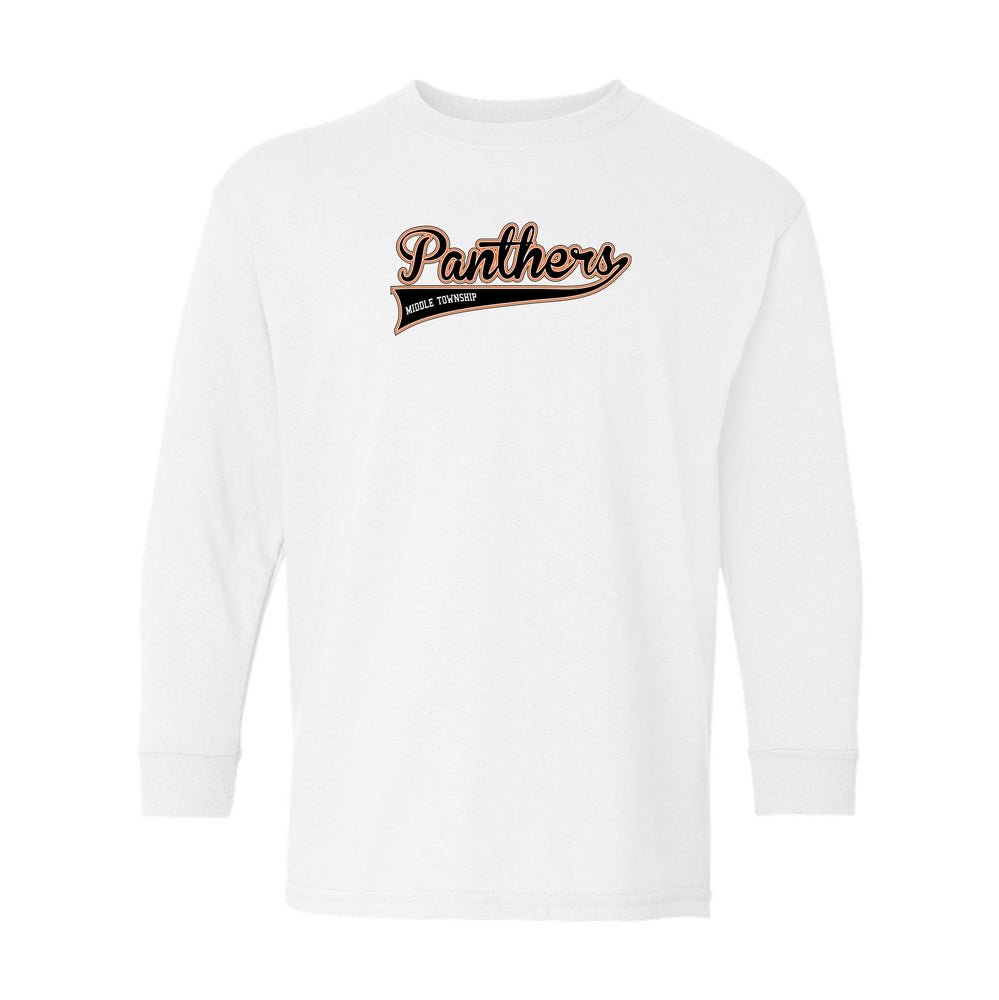 Image of Youth Panthers Logo Longseelve Tee (White)