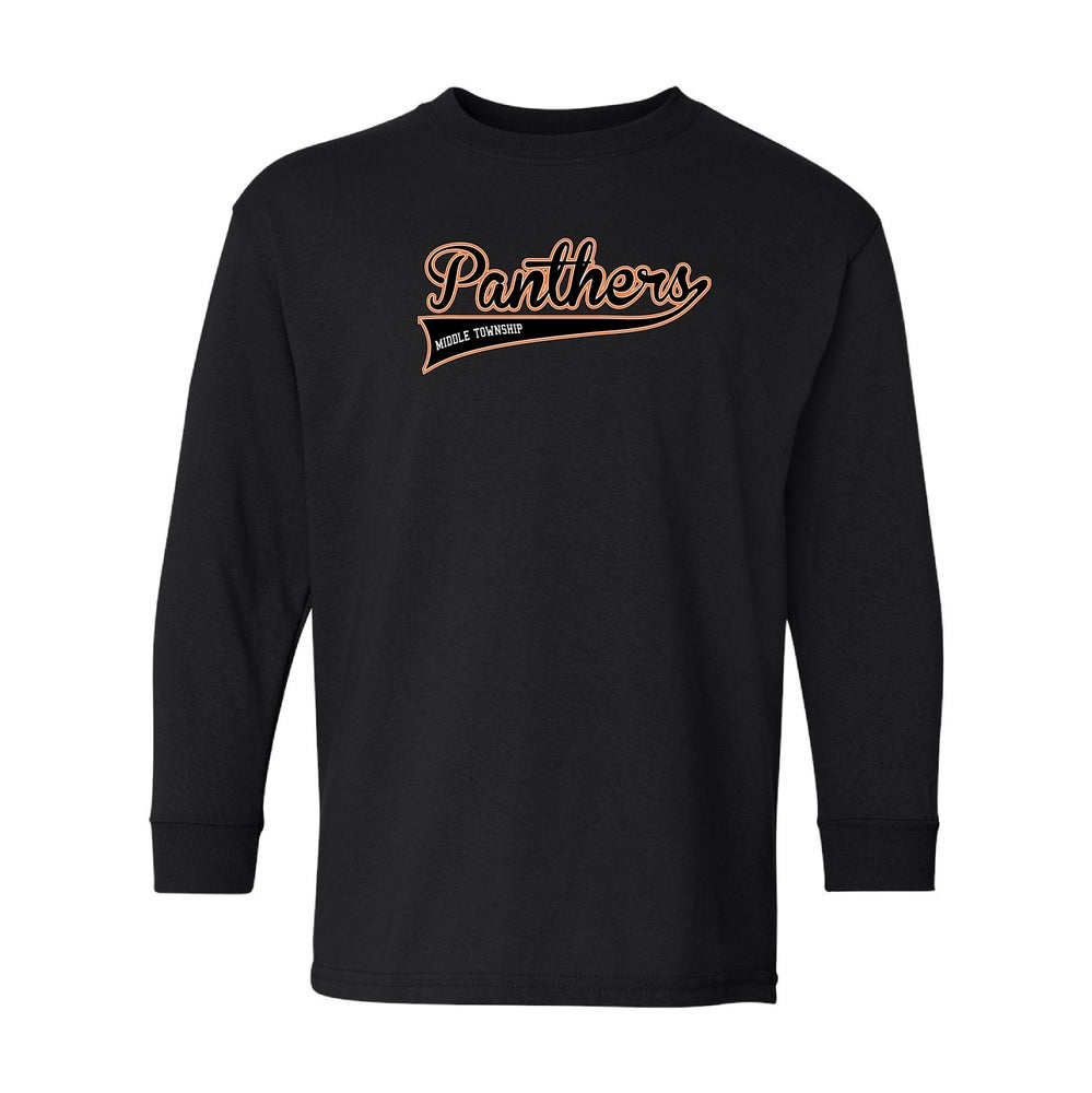 Image of Youth Panthers Logo Longsleeve Tee (Black)