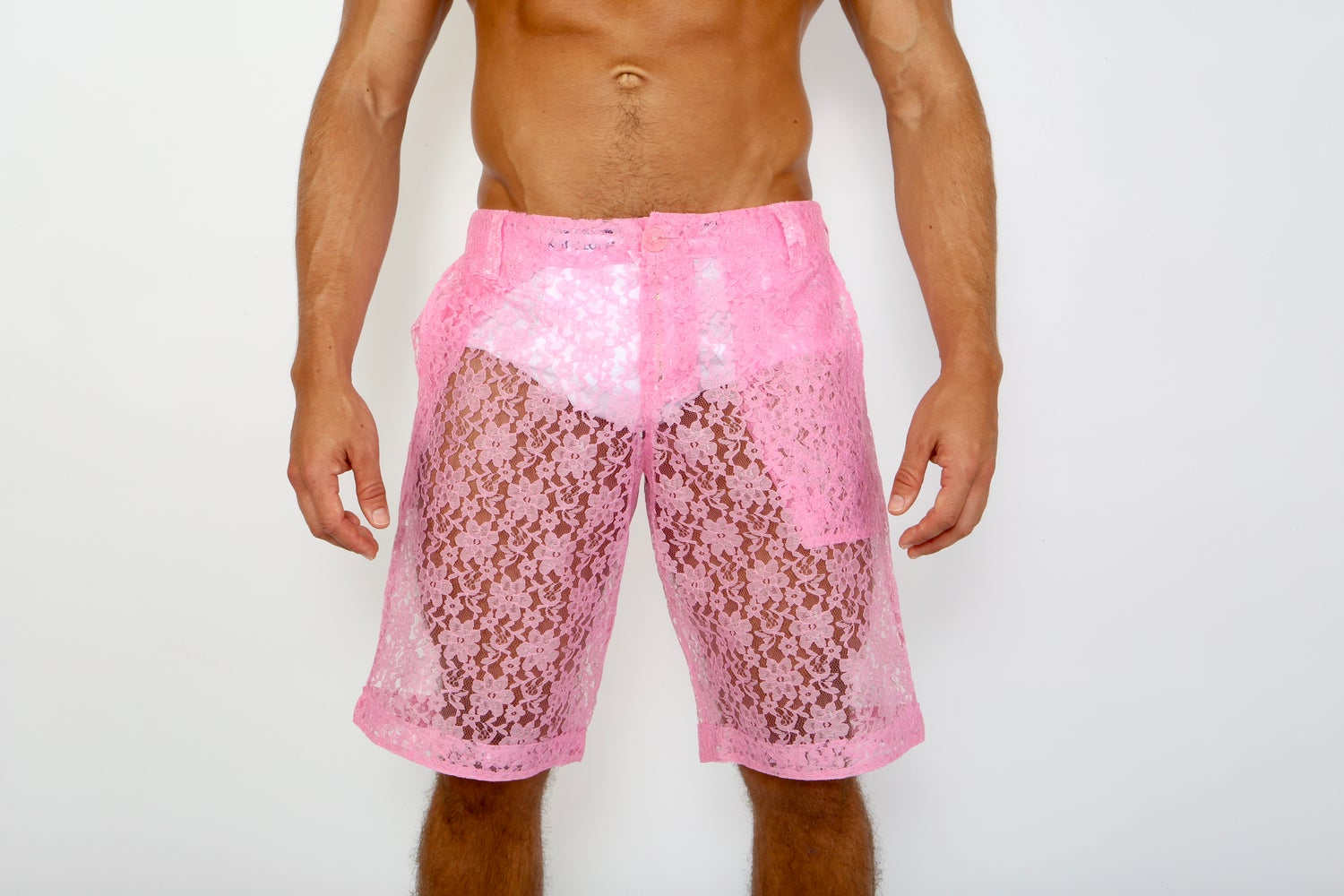 Image of LACE ME UP SHORTS-PINK