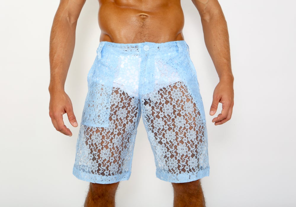 Image of LACE ME UP SHORTS- BLUE