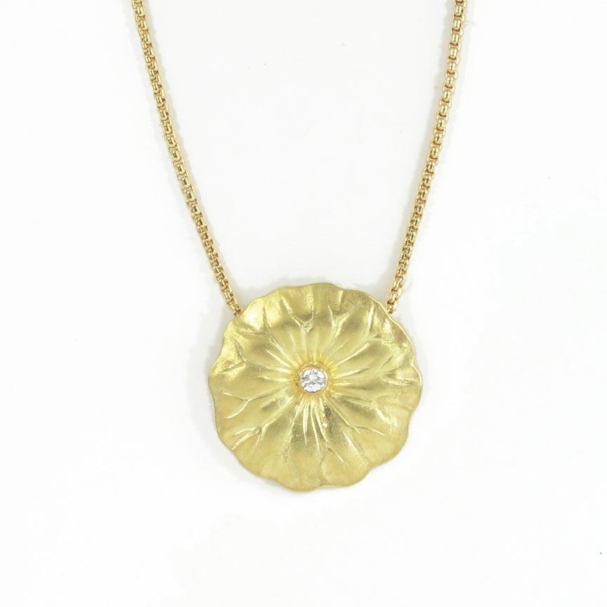 Image of Lotus Leaf Diamond 18k Pendant