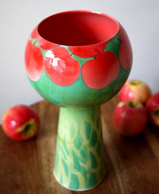 Image of Red Apple Tree Pedestal Bowl
