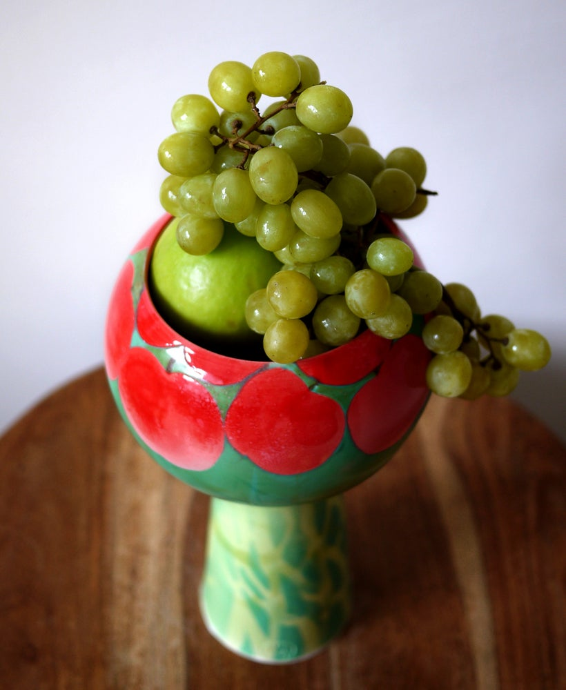 Image of Red Apple Tree Pedestal Bowl