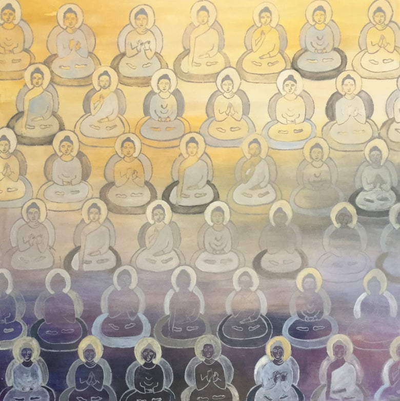Image of Purple to Yellow Gradient Buddhas