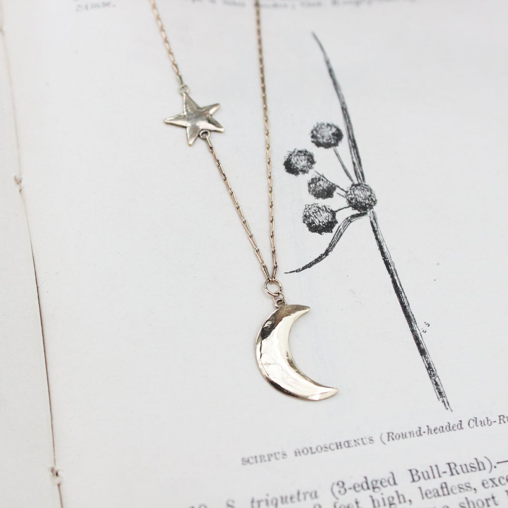 Image of crescent moon and star necklace