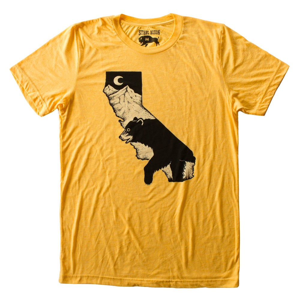 Image of T-SHIRT - CA BLACK BEAR (YELLOW GOLD)