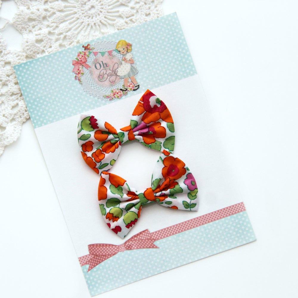 Image of Spring Botanics Dainty Bow Clips ~ Orange Floral - SET of 2