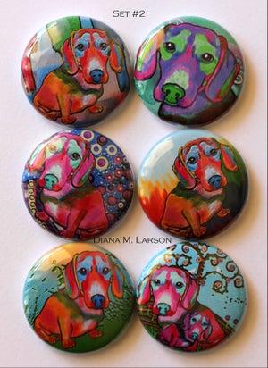 "Image of Dog 1"" Flair buttons Set 1-5"