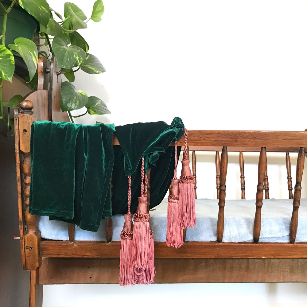 Image of 'forest' jewel tassel throw