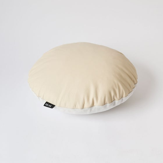 Image of Leather Round Cushion Cover - Sandy