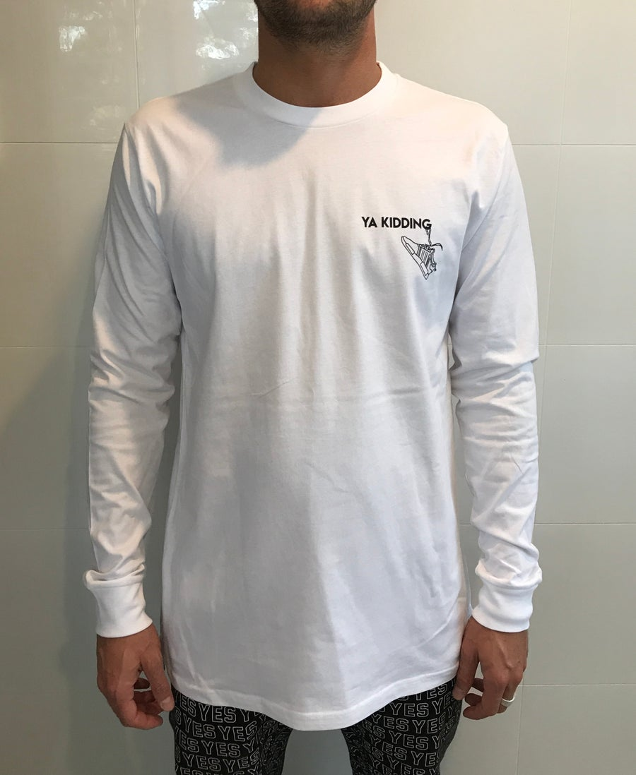 Image of YA KIDDING L/S TEE WHITE