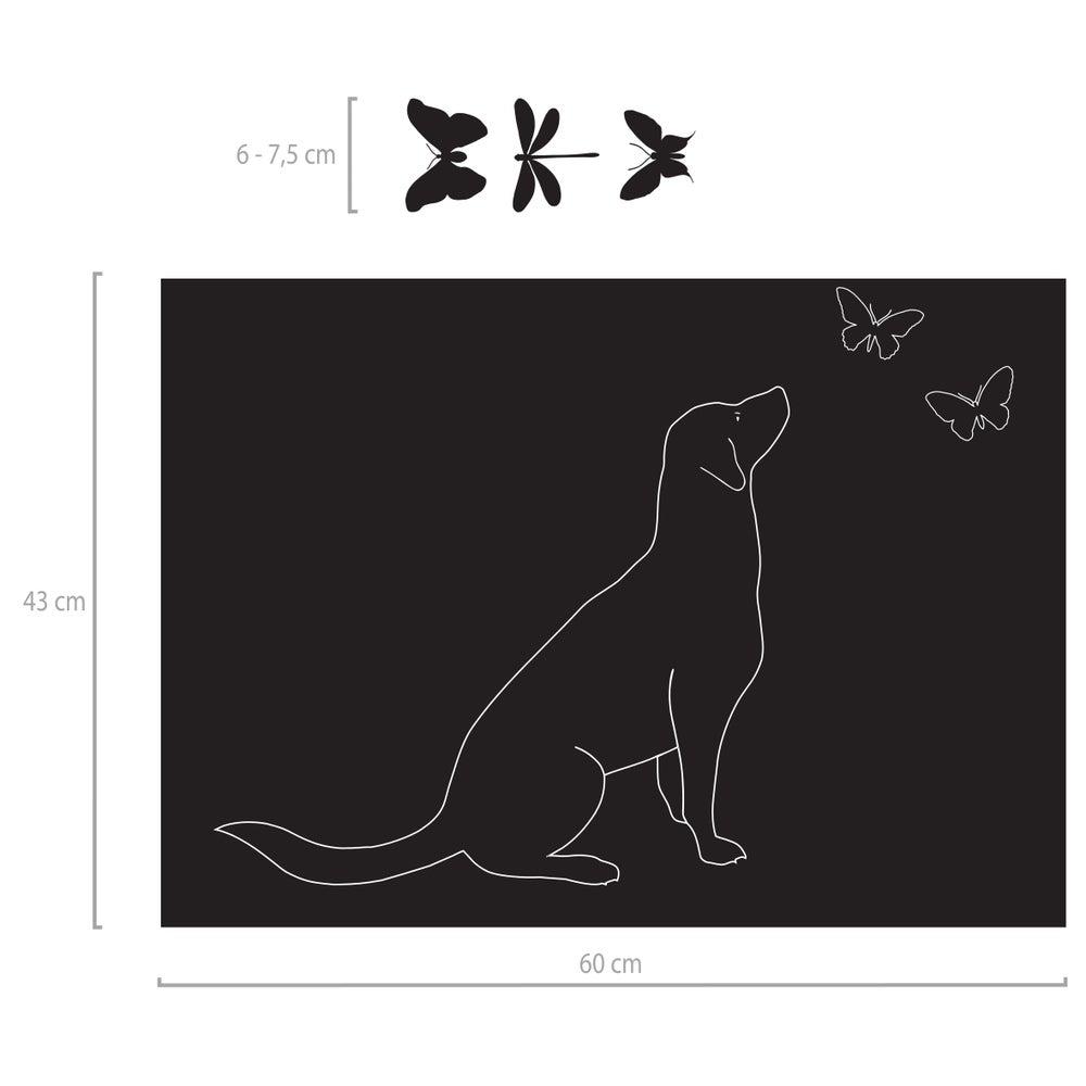 Image of Fensterfolie mit Motiv Hund mit Schmetterlingen