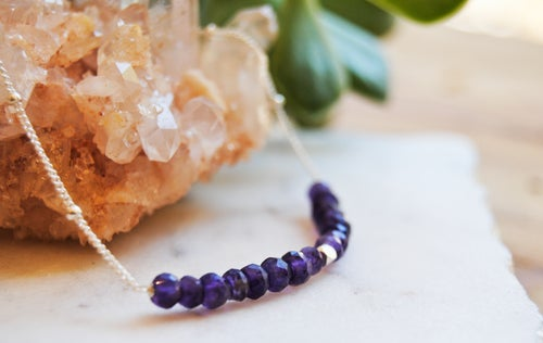 Image of Amethyst bar necklace