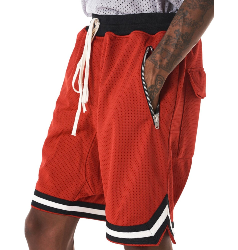 Image of FEAR OF GOD MESH DROP CROTCH SHORTS FIFTH COLLECTION 'RED'