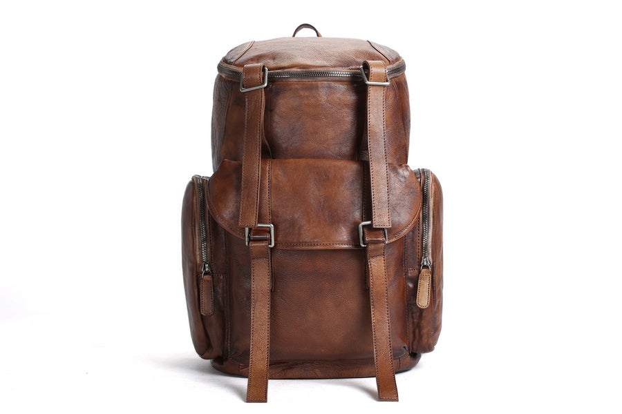 Image of Oversized Vintage Leather Backpack, Travel Backpack MT06