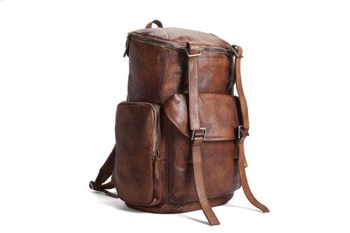 Image of Oversized Vintage Leather Backpack, Travel Backpack MT06