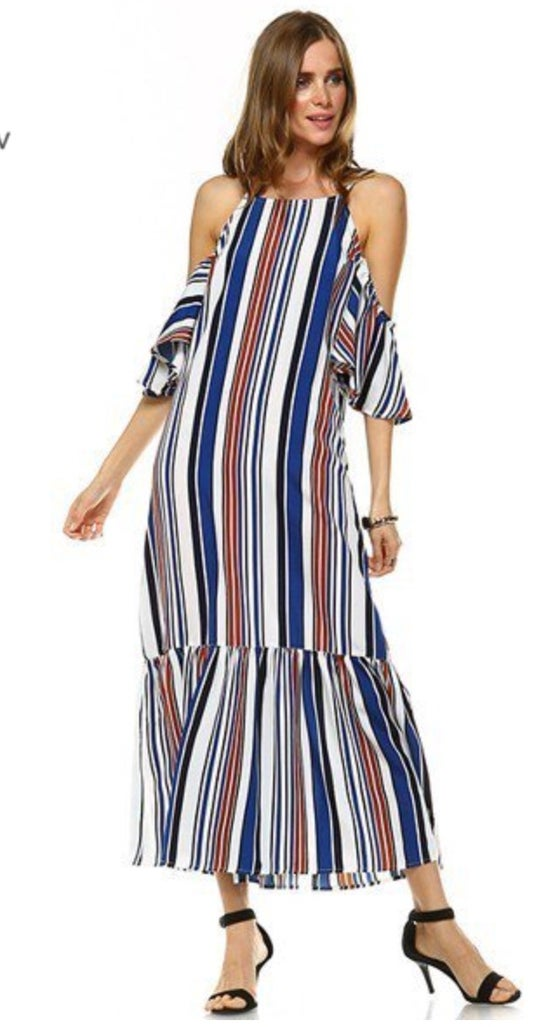 Image of Stripe and Off the Shoulder Dress