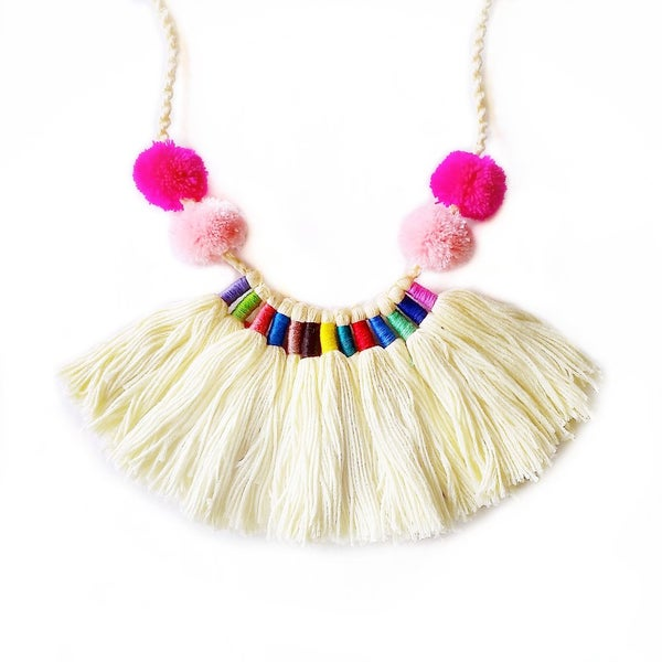 Image of SALE Monochrome SURPRISE Pom Fringe Necklace
