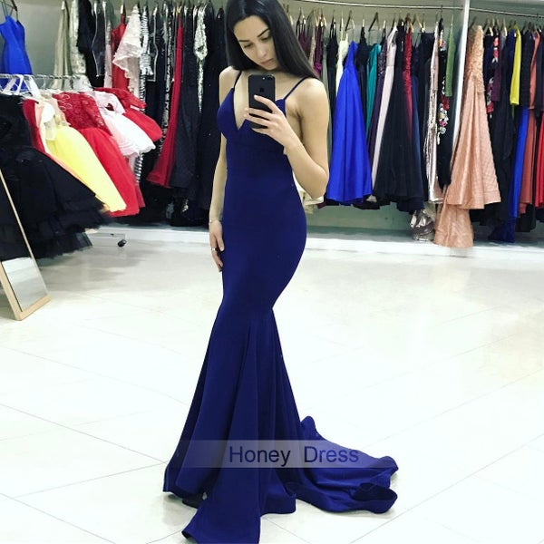 Image of Sexy Royal Blue Jersey Spaghetti Strap V Neck Mermaid Long Prom Dress With Open Back