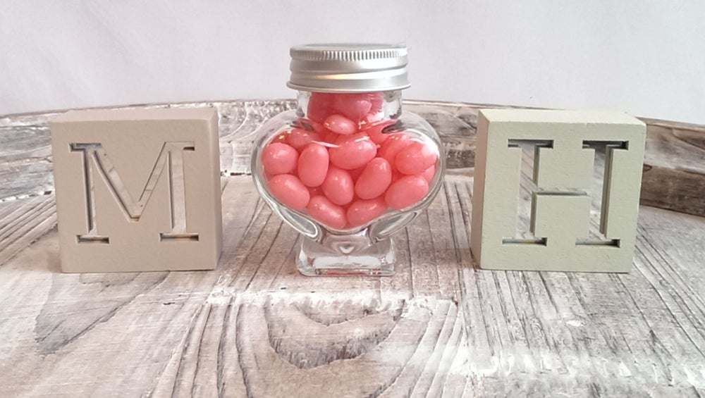 Image of Heart Jars filled with Jelly Beans