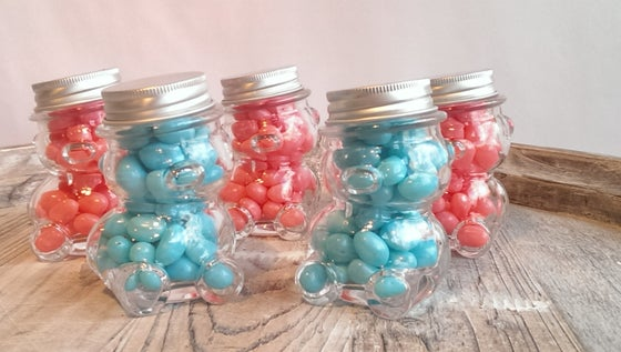 Image of Teddy Bear jars filled with Jelly Beans