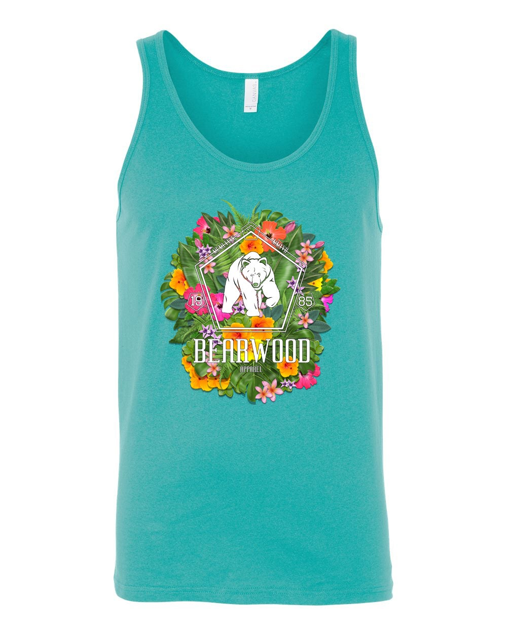 Image of Teal Floral BW Tanktop -  BC 3480