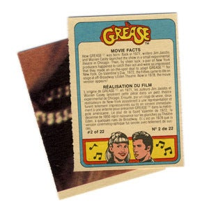 Image of GREASE MOVIE TRADING CARDS / STICKERS - 1978