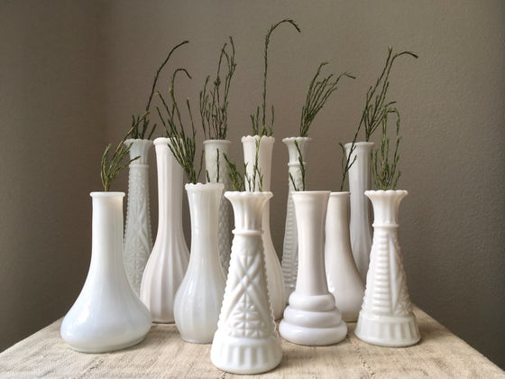 Image of Vintage Milk Glass Vase Collection, One Dozen