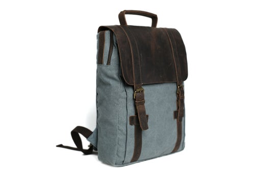 Image of Leather-Canvas Backpack / Laptop Bag / School Bag / Travel Bag / Backpack 1820