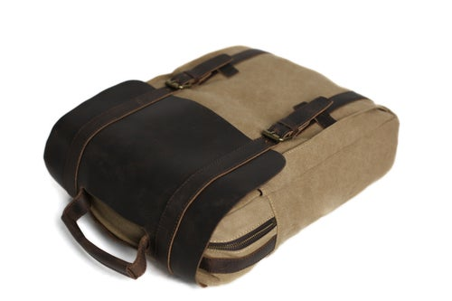 Image of Leather-Canvas Backpack, Laptop Bag, School Bag, Travel Bag, Canvas Backpack 1820