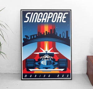 Image of Singapore Night Race Vintage-Style Travel Poster