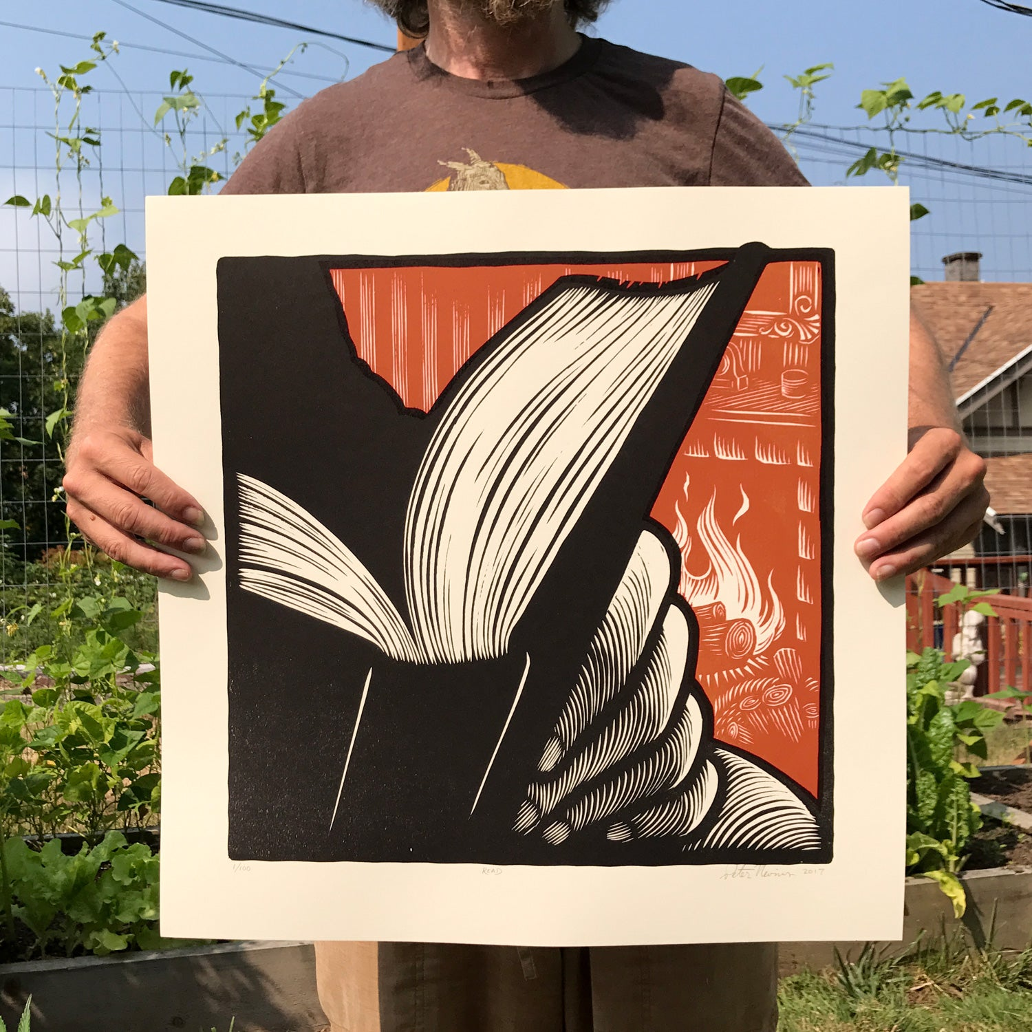 Image of READ - large woodcut