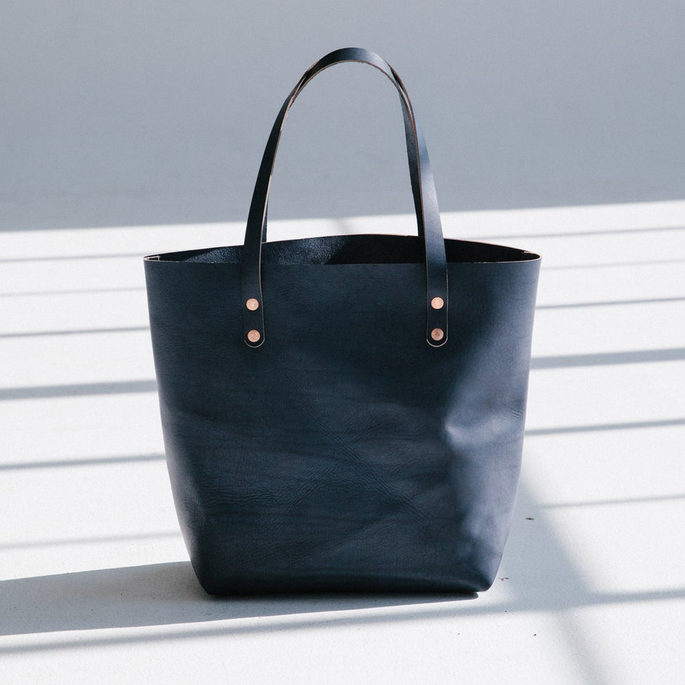 Image of Navy Italian Leather Tote