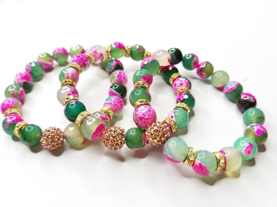 Image of Pink & Green Agate Gemstone Bracelet