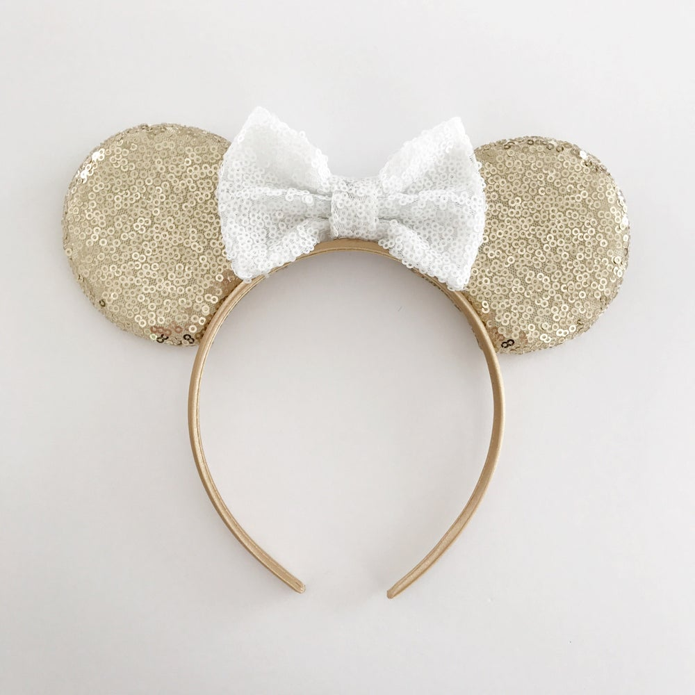 Image of Gold sequin mouse ears with white sequin bow