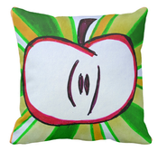 Image of Sliced Red Apple Square Pillow