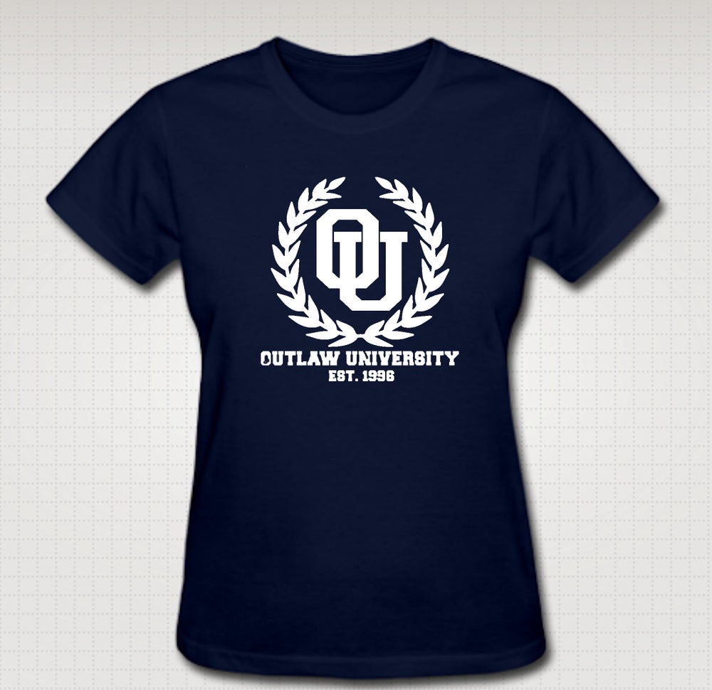 Image of Outlaw Uni Female Baby Tee - Comes In Black, White,Pink ,Navy Blue - CLICK HERE TO SEE ALL COLORS
