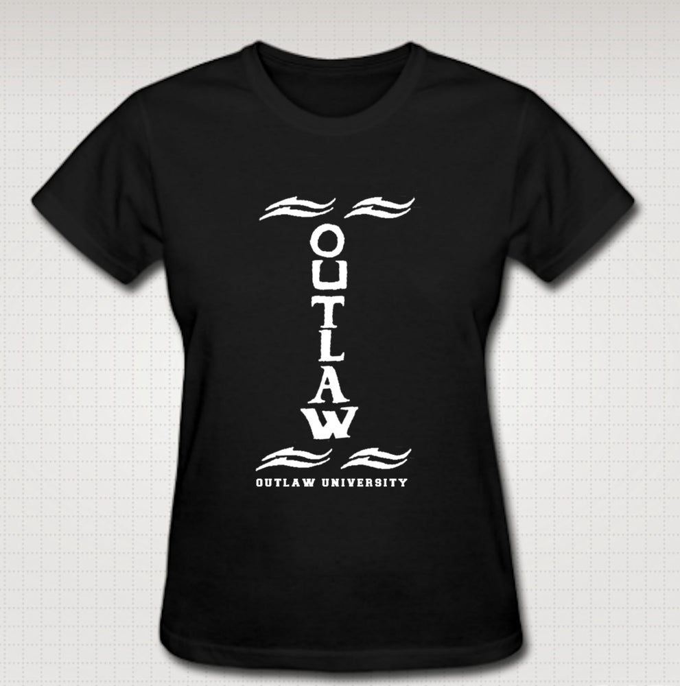 Image of Outlaw Tatt Female Baby Tee- Comes in Black, White,Pink,Purple,Red- CLICK HERE TO SEE ALL COLORS