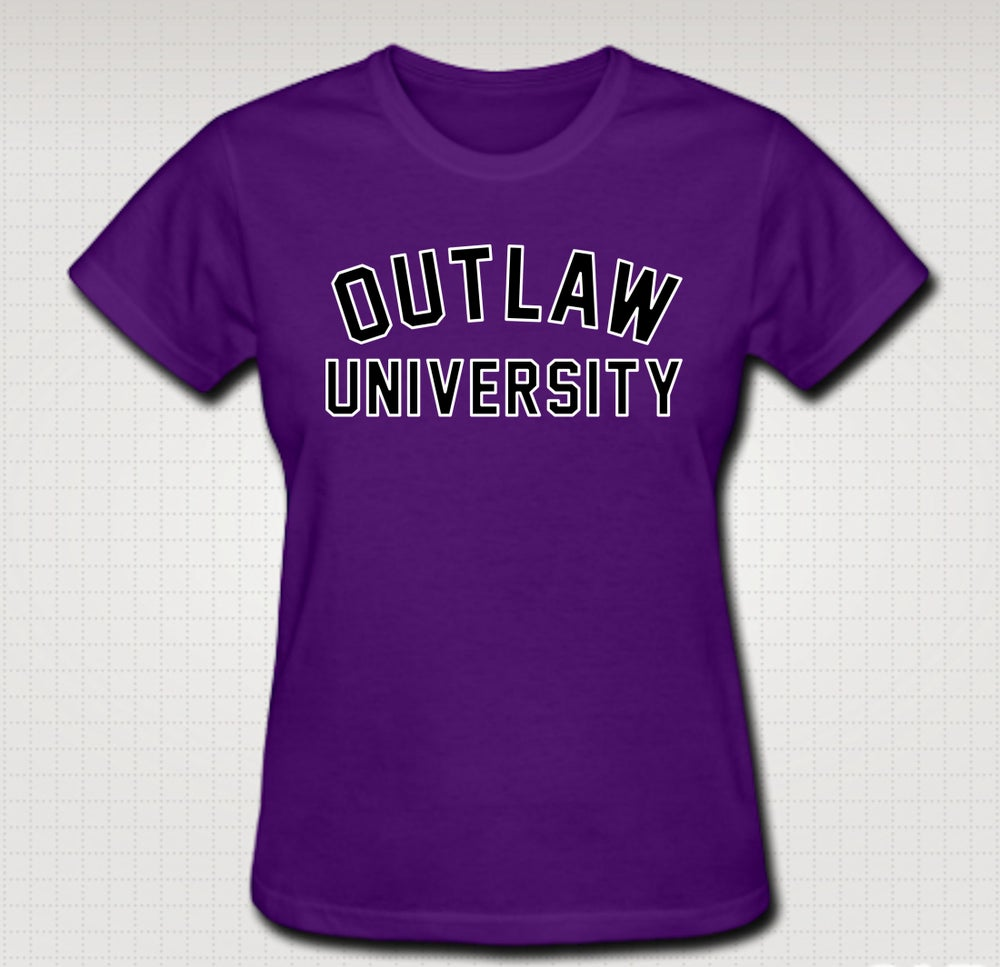 Image of University Female Baby Tee- Comes in Black, White,Pink,Purple,Red- CLICK HERE TO SEE ALL COLORS
