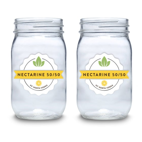 Image of 44º North Vodka Nectarine 50/50 16 oz Mason Jars Set of 4