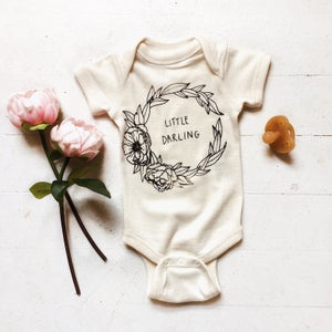 Image of Little Darling onesie in natural or maroon